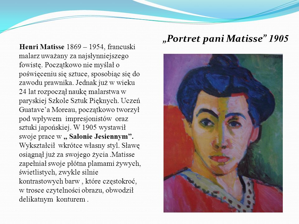 """Portret pani Matisse 1905"
