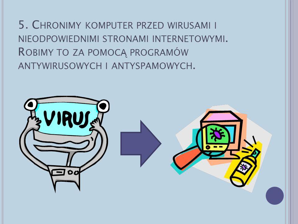 5.Chronimy komputer przed wirusami i nieodpowiednimi stronami internetowymi.