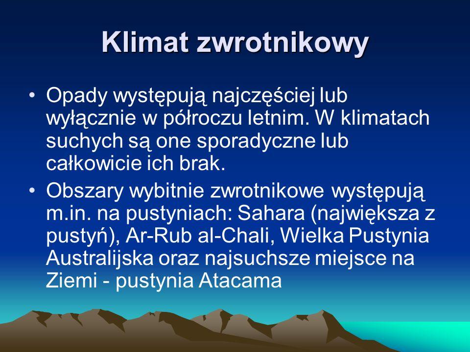 Klimat zwrotnikowy Opady występują najczęściej lub wyłącznie w półroczu letnim. W klimatach suchych są one sporadyczne lub całkowicie ich brak.
