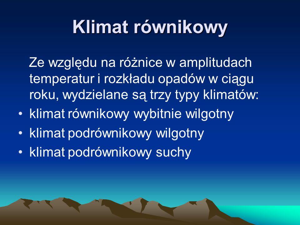 Klimat równikowy Ze względu na różnice w amplitudach temperatur i rozkładu opadów w ciągu roku, wydzielane są trzy typy klimatów: