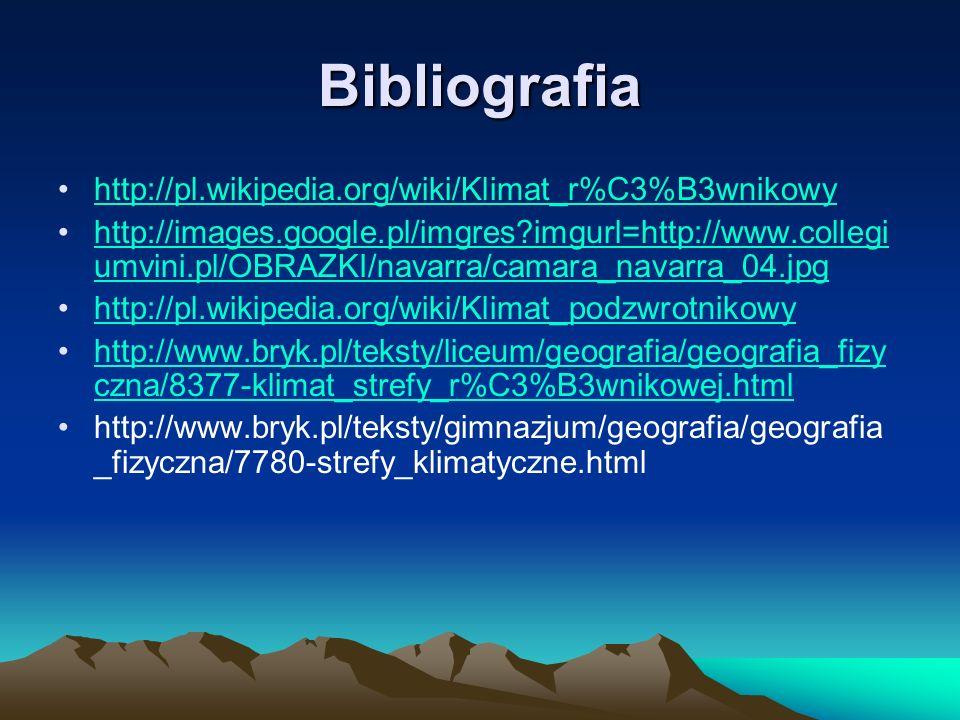 Bibliografia http://pl.wikipedia.org/wiki/Klimat_r%C3%B3wnikowy