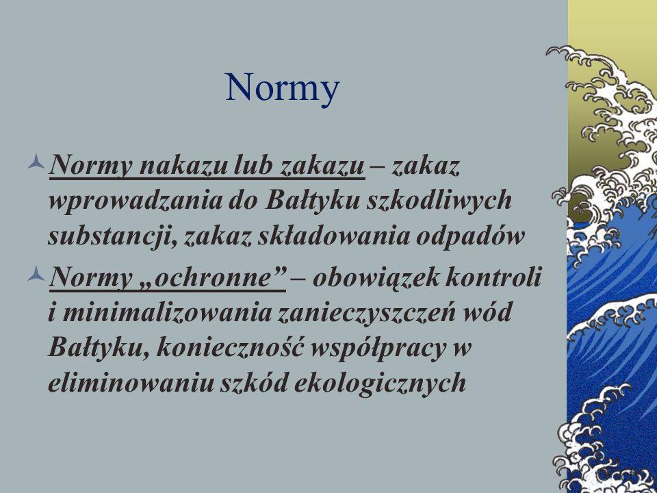 Normy Normy nakazu lub zakazu – zakaz wprowadzania do Bałtyku szkodliwych substancji, zakaz składowania odpadów.