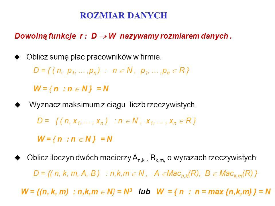 ROZMIAR DANYCH Dowolną funkcje r : D  W nazywamy rozmiarem danych .