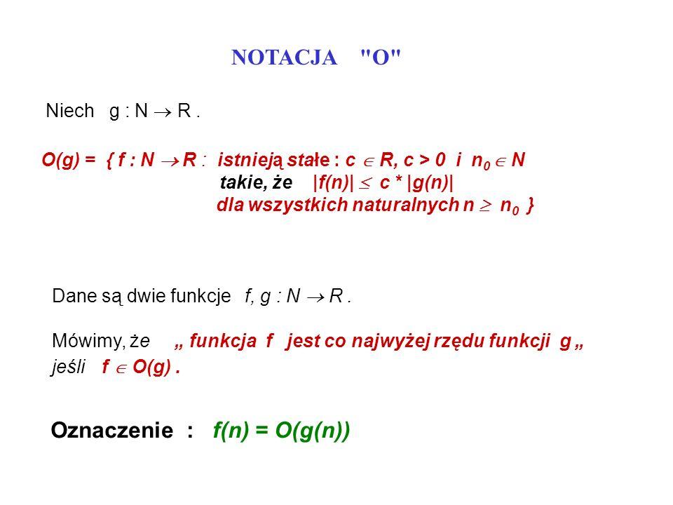 Oznaczenie : f(n) = O(g(n))
