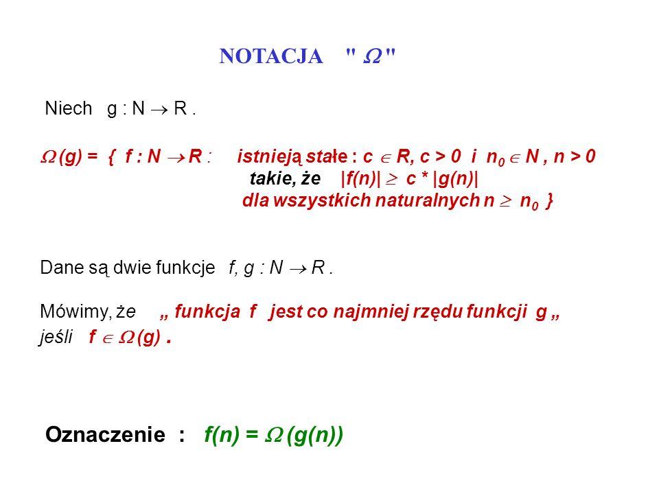 Oznaczenie : f(n) = W (g(n))