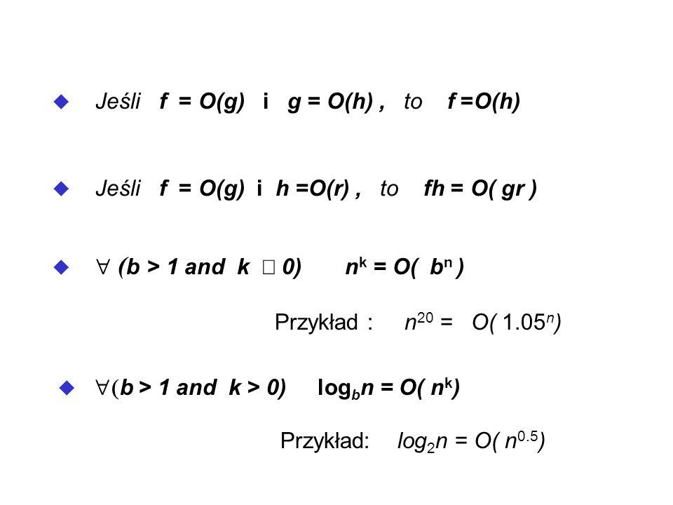 Jeśli f = O(g) i g = O(h) , to f =O(h)