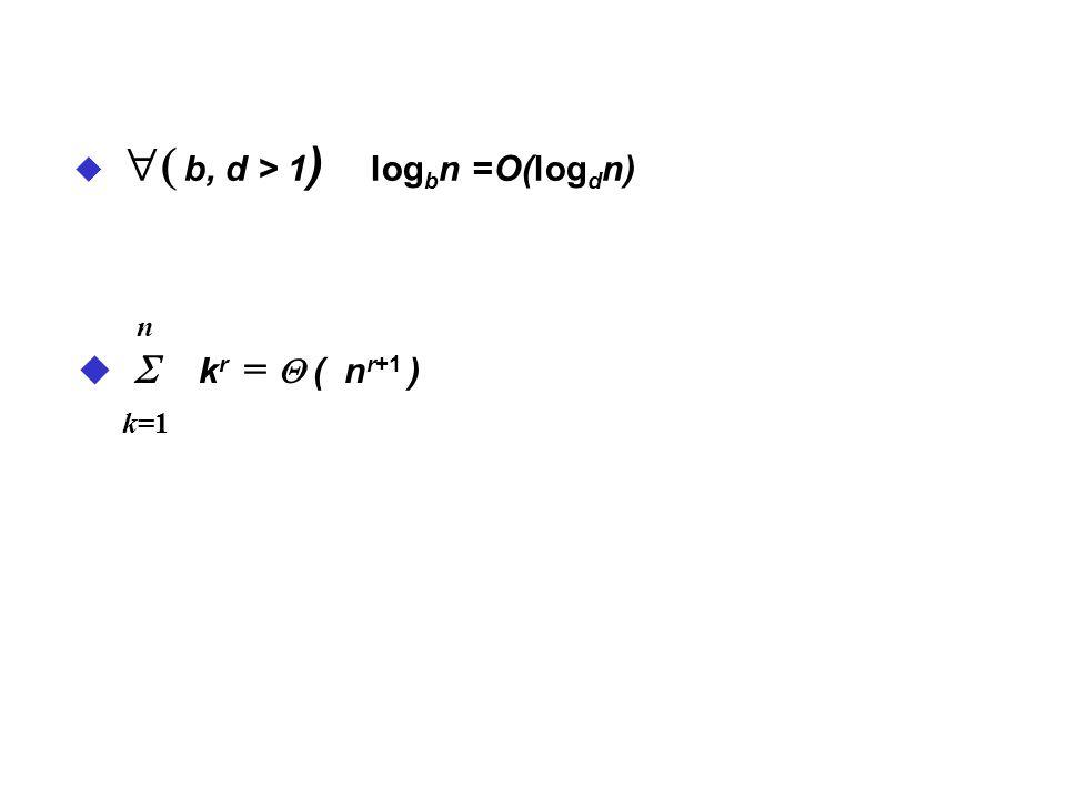 ( b, d > 1) logbn =O(logdn)