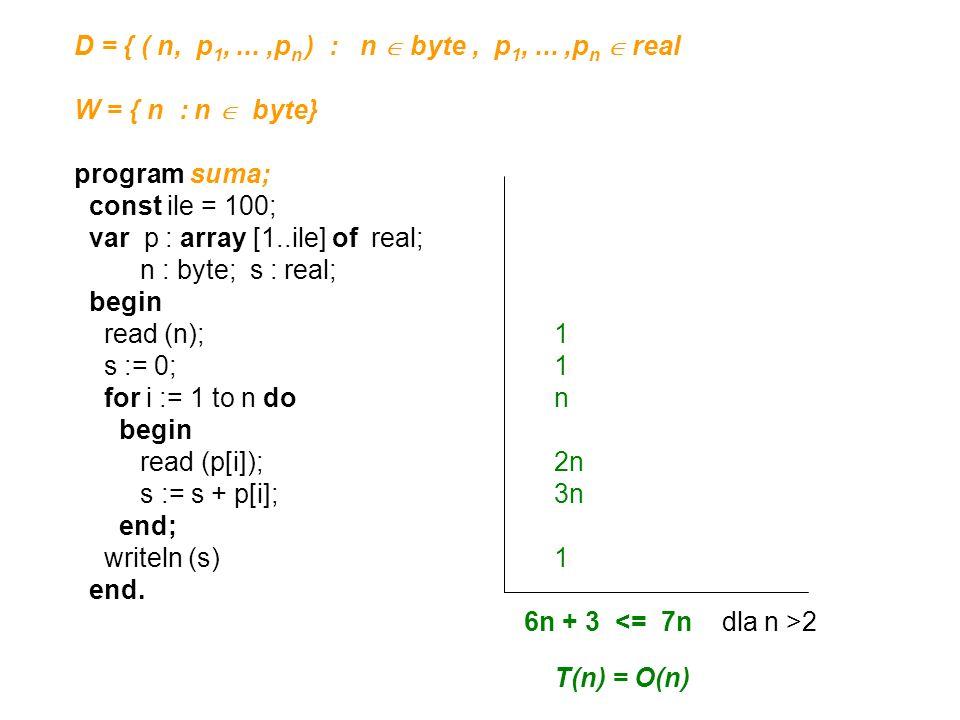 D = { ( n, p1, ... ,pn ) : n  byte , p1, ... ,pn  real
