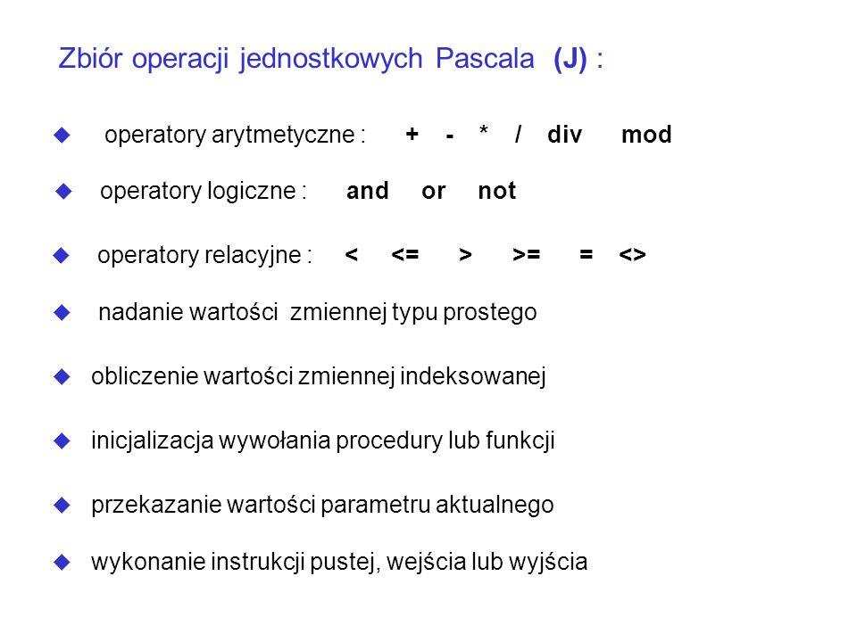 Zbiór operacji jednostkowych Pascala (J) :