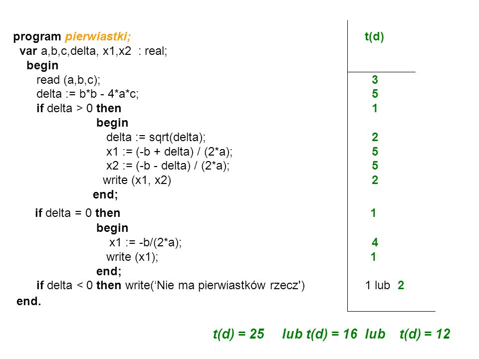 if delta = 0 then 1 t(d) = 25 lub t(d) = 16 lub t(d) = 12