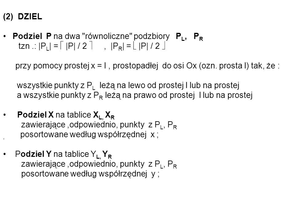 (2) DZIEL Podziel P na dwa równoliczne podzbiory PL, PR. tzn .: |PL| =  |P| / 2  , |PR| =  |P| / 2 