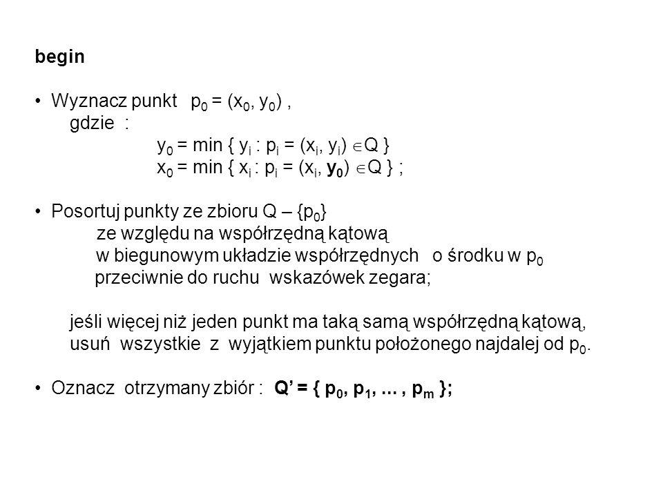begin Wyznacz punkt p0 = (x0, y0) , gdzie : y0 = min { yi : pi = (xi, yi) Q } x0 = min { xi : pi = (xi, y0) Q } ;