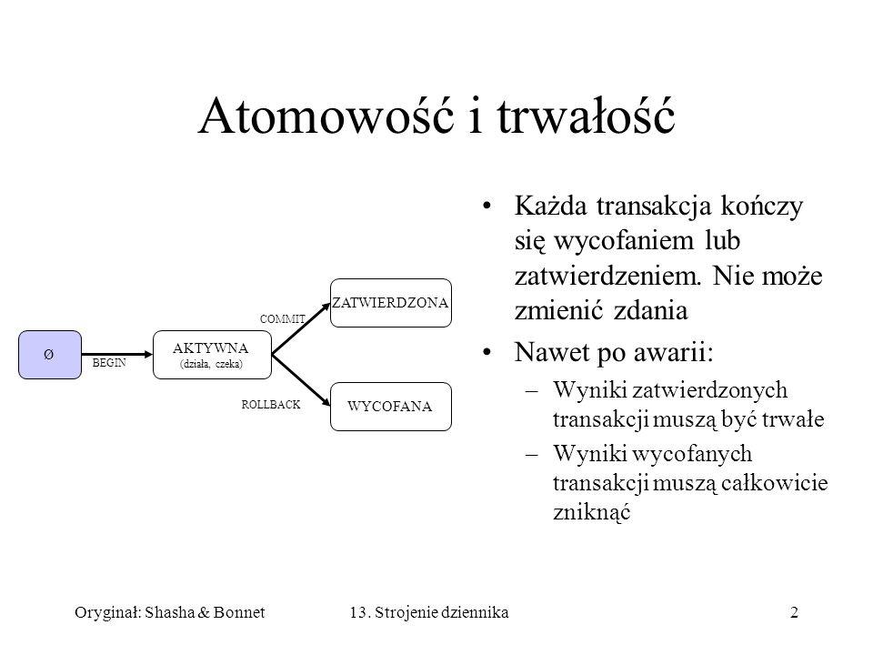 Atomowość i trwałość Każda transakcja kończy się wycofaniem lub zatwierdzeniem. Nie może zmienić zdania.