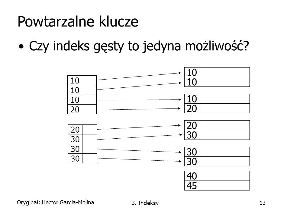 Powtarzalne klucze Czy indeks gęsty to jedyna możliwość 10 10 20 10