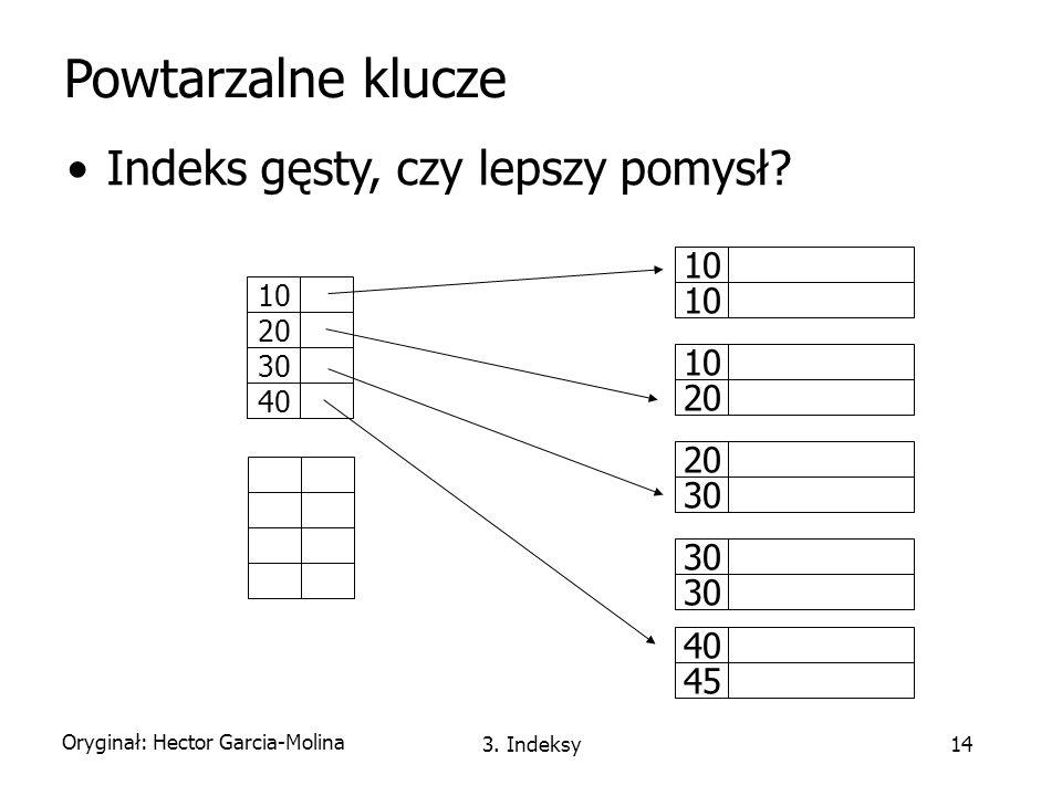 Powtarzalne klucze Indeks gęsty, czy lepszy pomysł 10 10 20 20 30 30