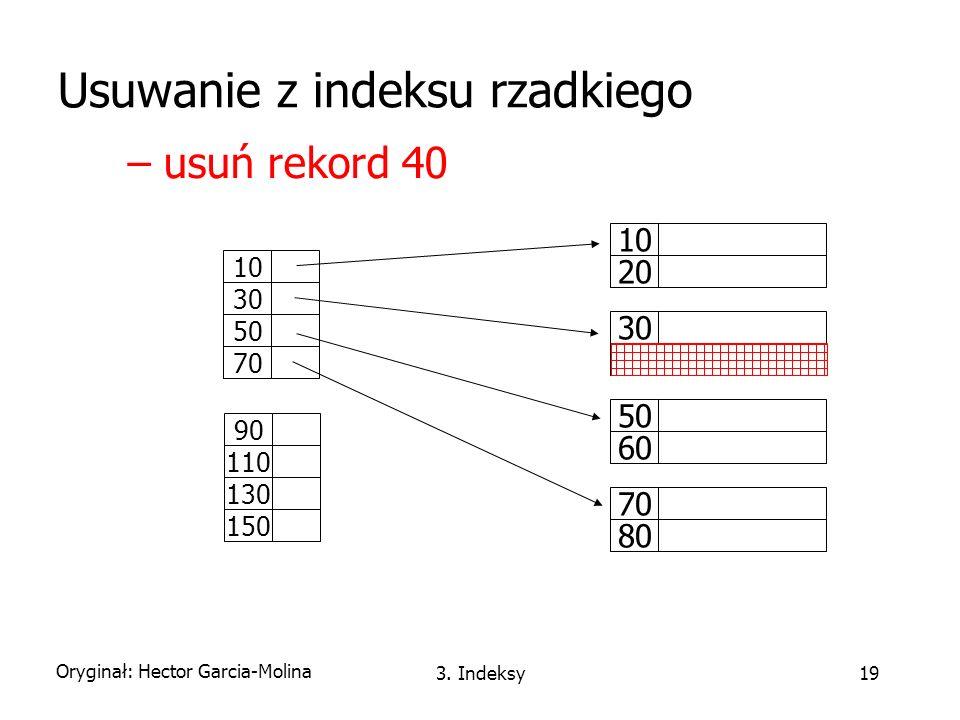 Usuwanie z indeksu rzadkiego