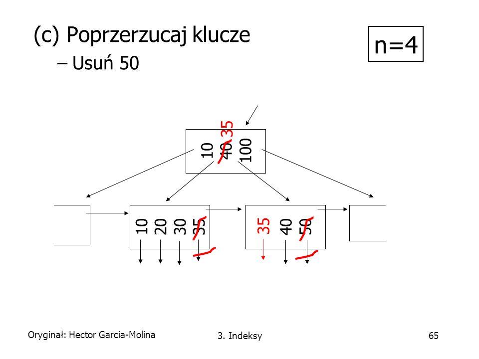 n=4 (c) Poprzerzucaj klucze Usuń 50 10 40 100 35 10 20 30 35 40 50