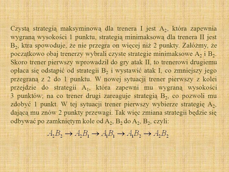 Czystą strategią maksyminową dla trenera I jest A2, która zapewnia wygraną wysokości 1 punktu, strategią minimaksową dla trenera II jest B2, ktra spowoduje, że nie przegra on więcej niż 2 punkty.