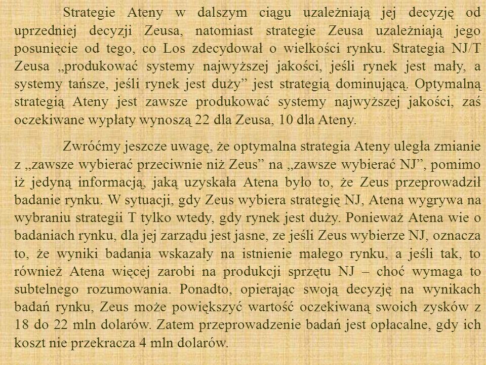 """Strategie Ateny w dalszym ciągu uzależniają jej decyzję od uprzedniej decyzji Zeusa, natomiast strategie Zeusa uzależniają jego posunięcie od tego, co Los zdecydował o wielkości rynku. Strategia NJ/T Zeusa """"produkować systemy najwyższej jakości, jeśli rynek jest mały, a systemy tańsze, jeśli rynek jest duży jest strategią dominującą. Optymalną strategią Ateny jest zawsze produkować systemy najwyższej jakości, zaś oczekiwane wypłaty wynoszą 22 dla Zeusa, 10 dla Ateny."""