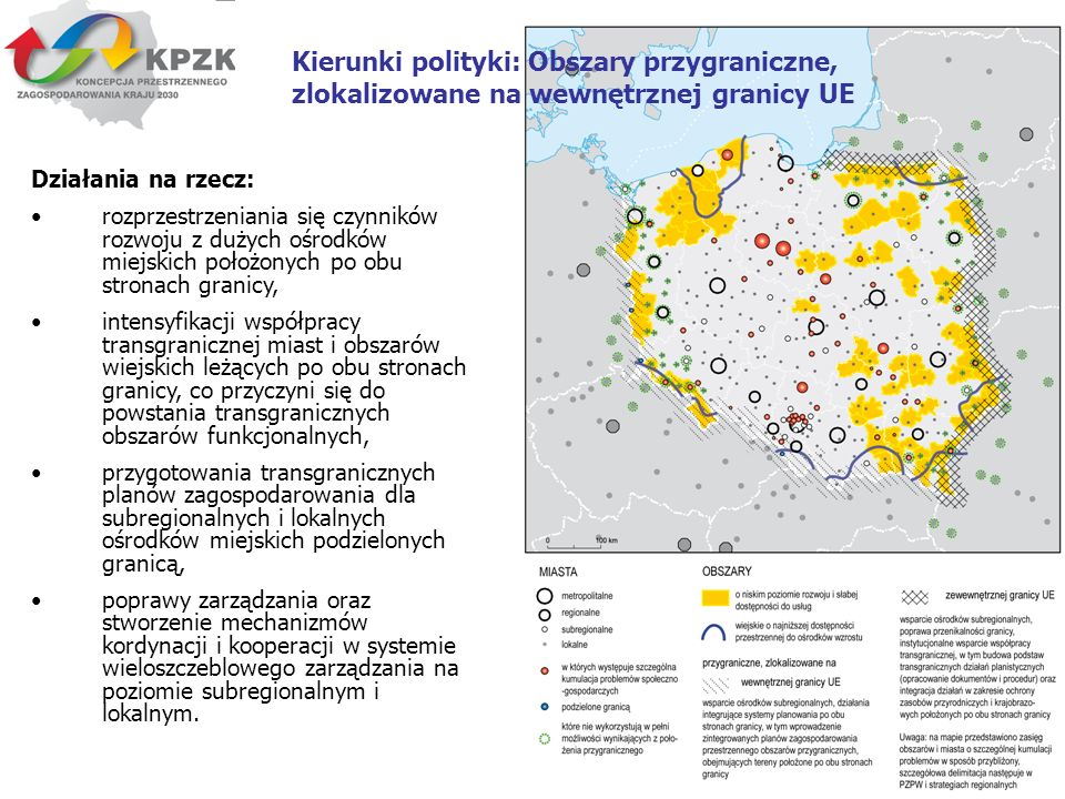 Kierunki polityki: Obszary przygraniczne, zlokalizowane na wewnętrznej granicy UE