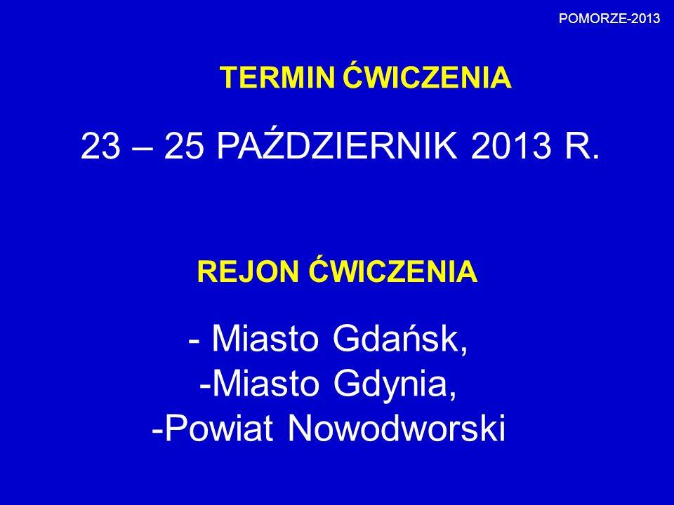 23 – 25 PAŹDZIERNIK 2013 R. Miasto Gdańsk, Miasto Gdynia,