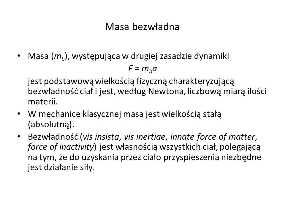 Masa bezwładna Masa (mb), występująca w drugiej zasadzie dynamiki