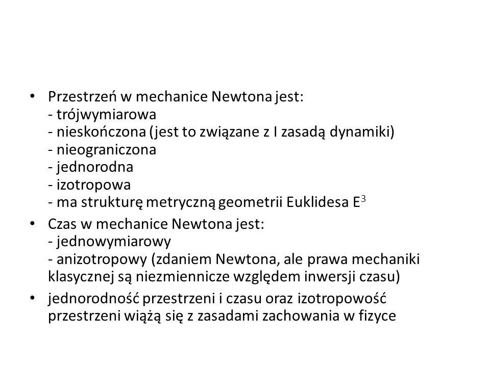 Przestrzeń w mechanice Newtona jest: - trójwymiarowa - nieskończona (jest to związane z I zasadą dynamiki) - nieograniczona - jednorodna - izotropowa - ma strukturę metryczną geometrii Euklidesa E3