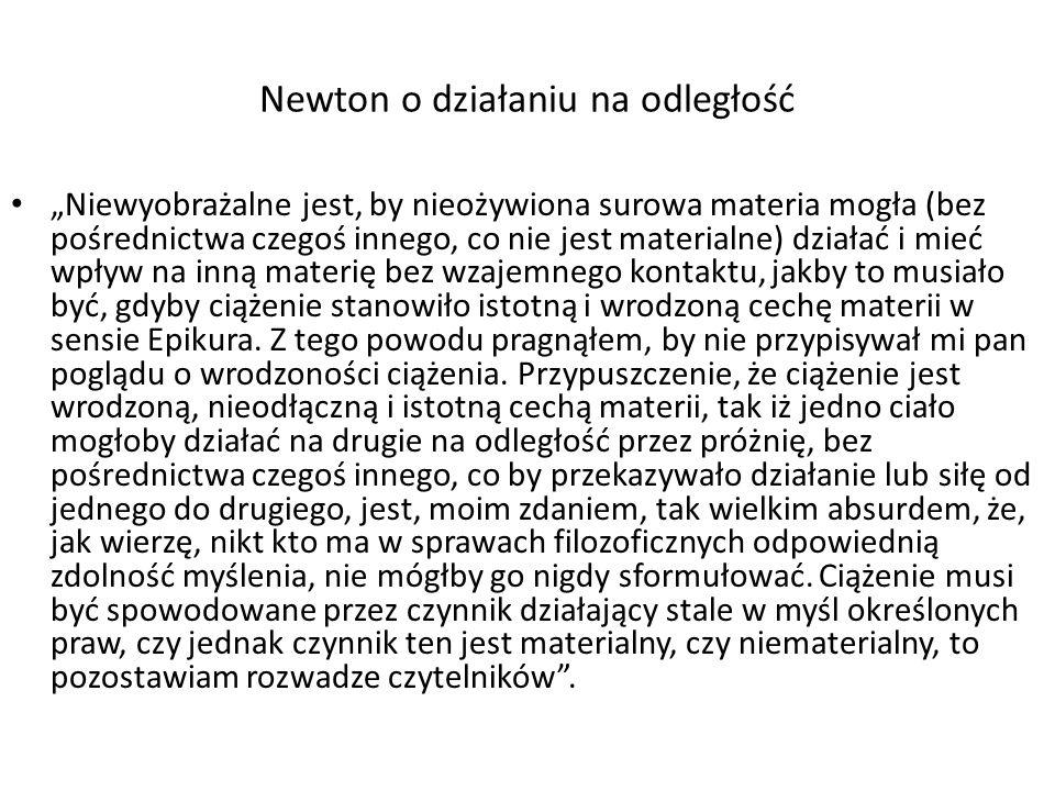 Newton o działaniu na odległość