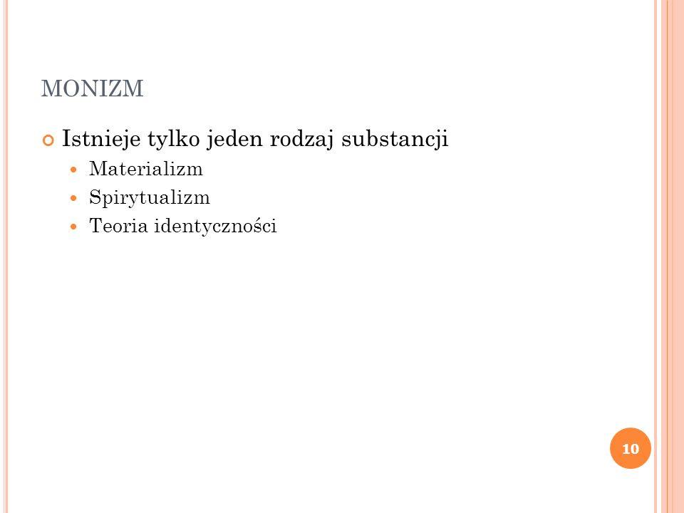 monizm Istnieje tylko jeden rodzaj substancji Materializm Spirytualizm