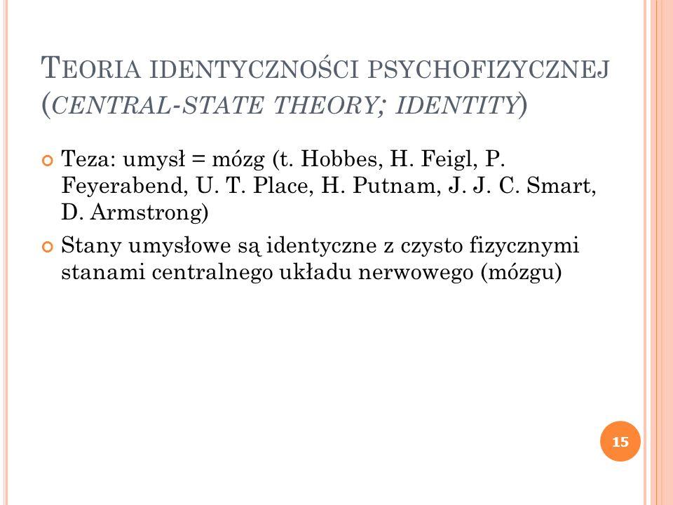 Teoria identyczności psychofizycznej (central-state theory; identity)