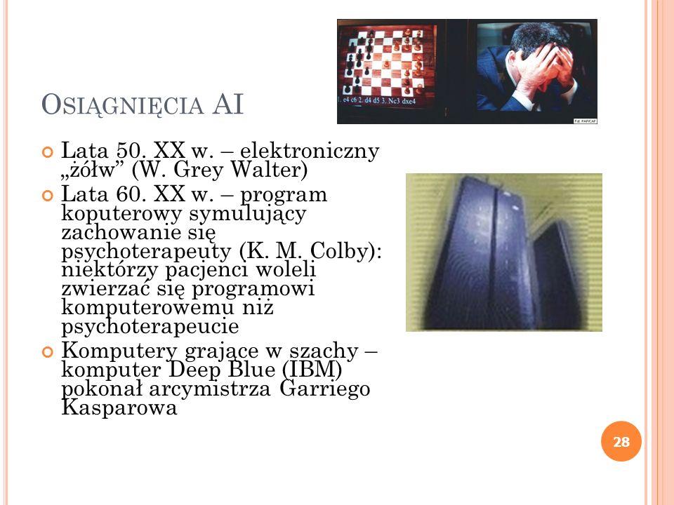 """Osiągnięcia AI Lata 50. XX w. – elektroniczny """"żółw (W. Grey Walter)"""