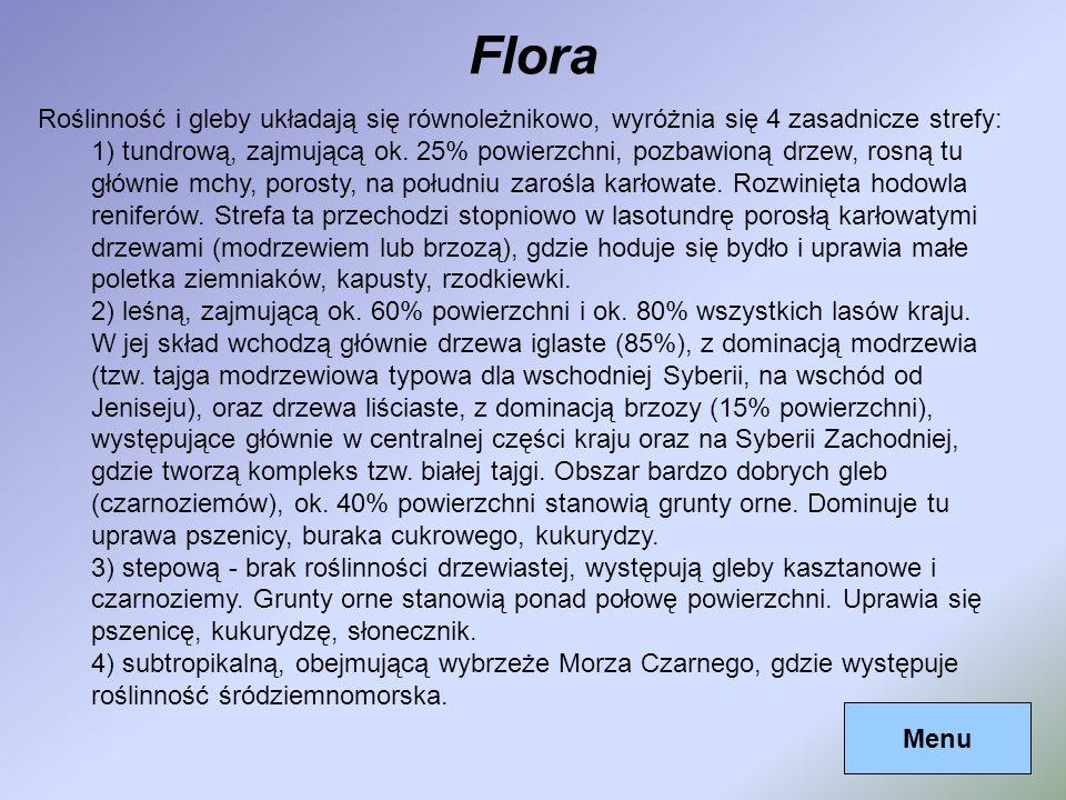 FloraRoślinność i gleby układają się równoleżnikowo, wyróżnia się 4 zasadnicze strefy:
