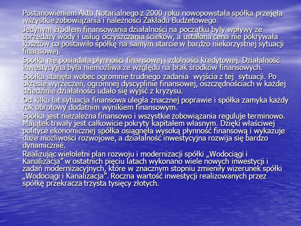 Postanowieniem Aktu Notarialnego z 2000 roku nowopowstała spółka przejęła wszystkie zobowiązania i należności Zakładu Budżetowego.