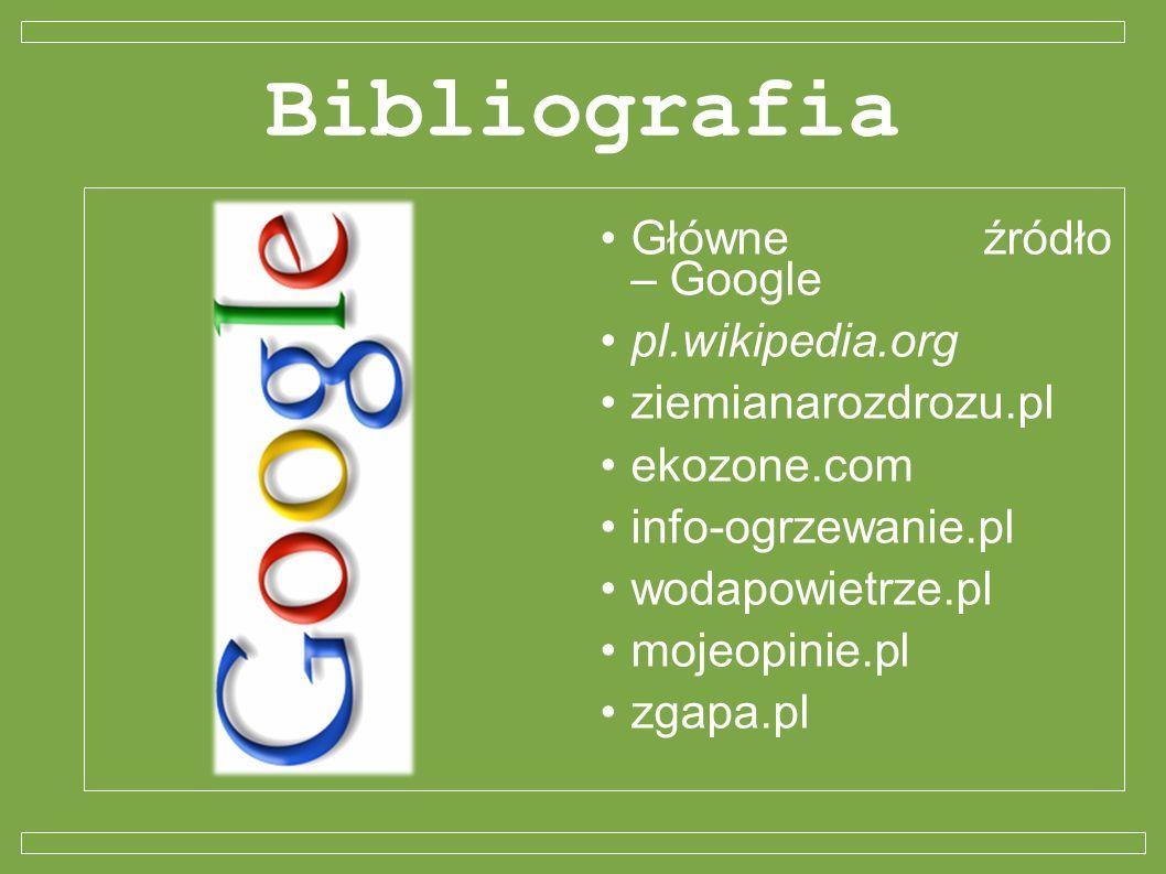 Bibliografia Główne źródło – Google pl.wikipedia.org