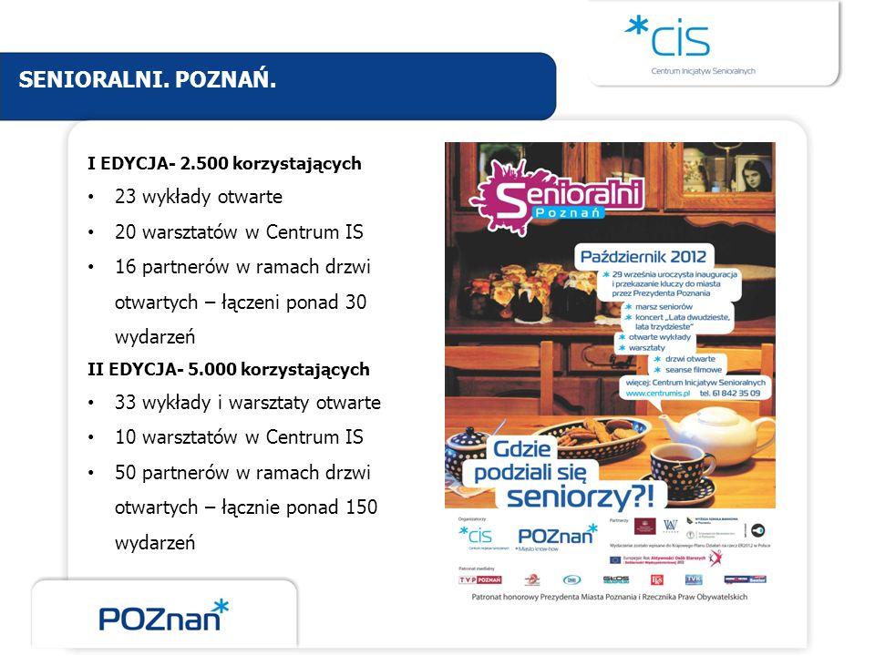 SENIORALNI. POZNAŃ. 23 wykłady otwarte 20 warsztatów w Centrum IS