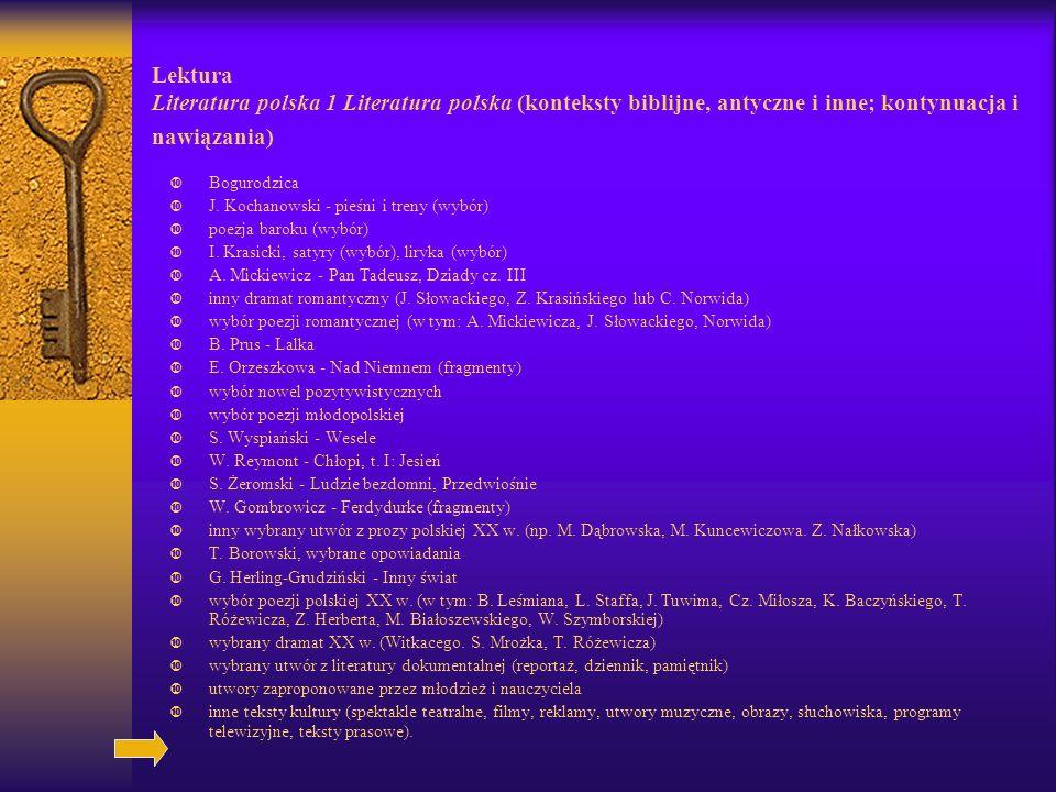 Lektura Literatura polska 1 Literatura polska (konteksty biblijne, antyczne i inne; kontynuacja i nawiązania)