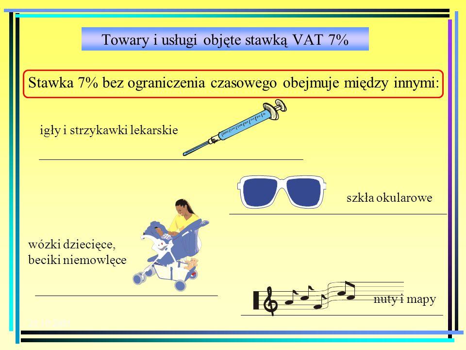 Towary i usługi objęte stawką VAT 7%