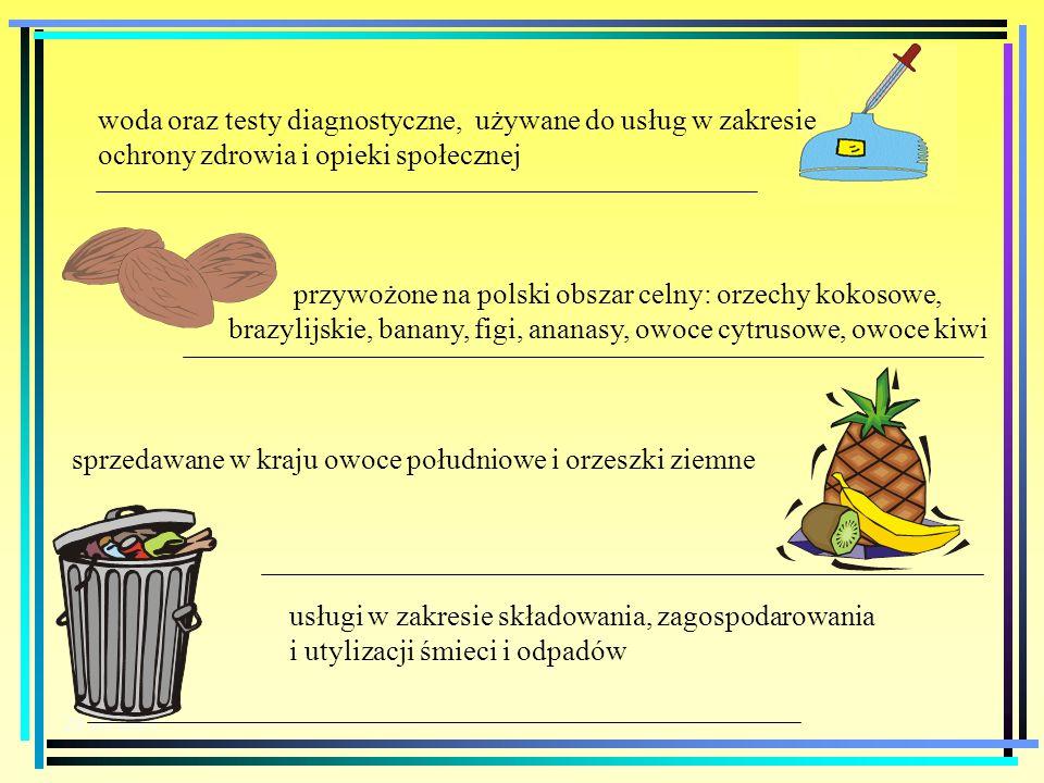 przywożone na polski obszar celny: orzechy kokosowe,