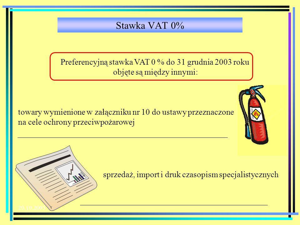 Stawka VAT 0% Preferencyjną stawka VAT 0 % do 31 grudnia 2003 roku objęte są między innymi: