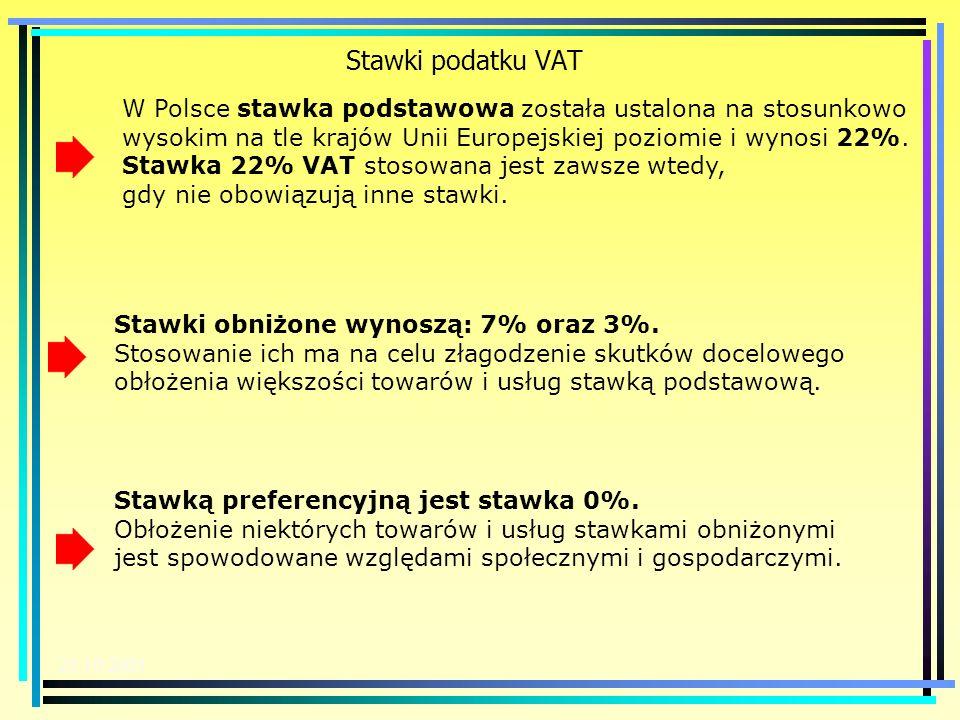 Stawki podatku VAT W Polsce stawka podstawowa została ustalona na stosunkowo wysokim na tle krajów Unii Europejskiej poziomie i wynosi 22%.