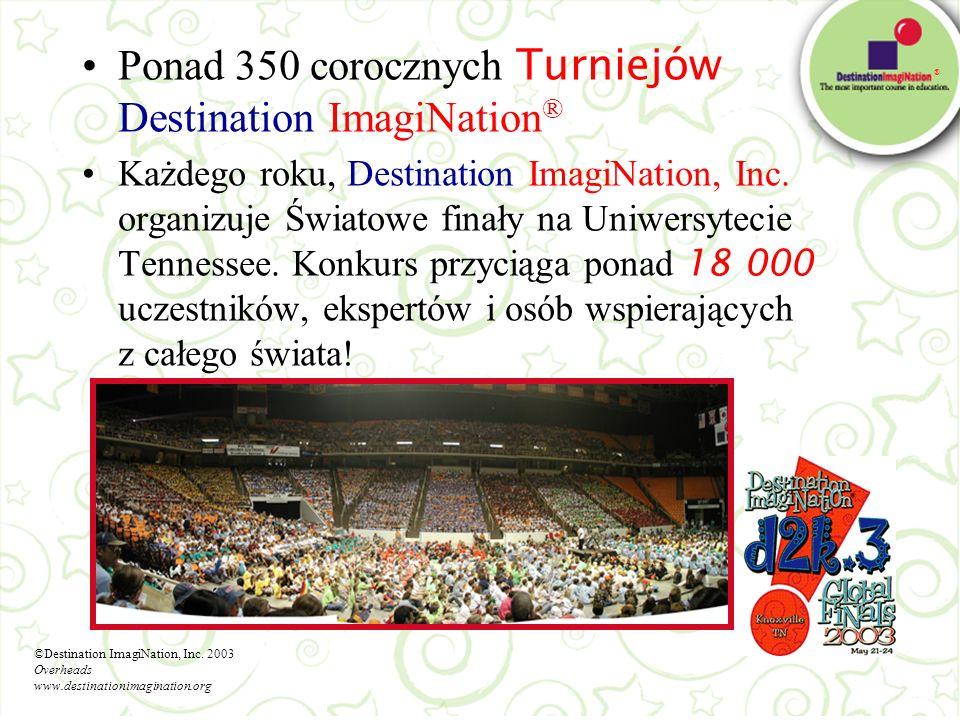 Ponad 350 corocznych Turniejów Destination ImagiNation®