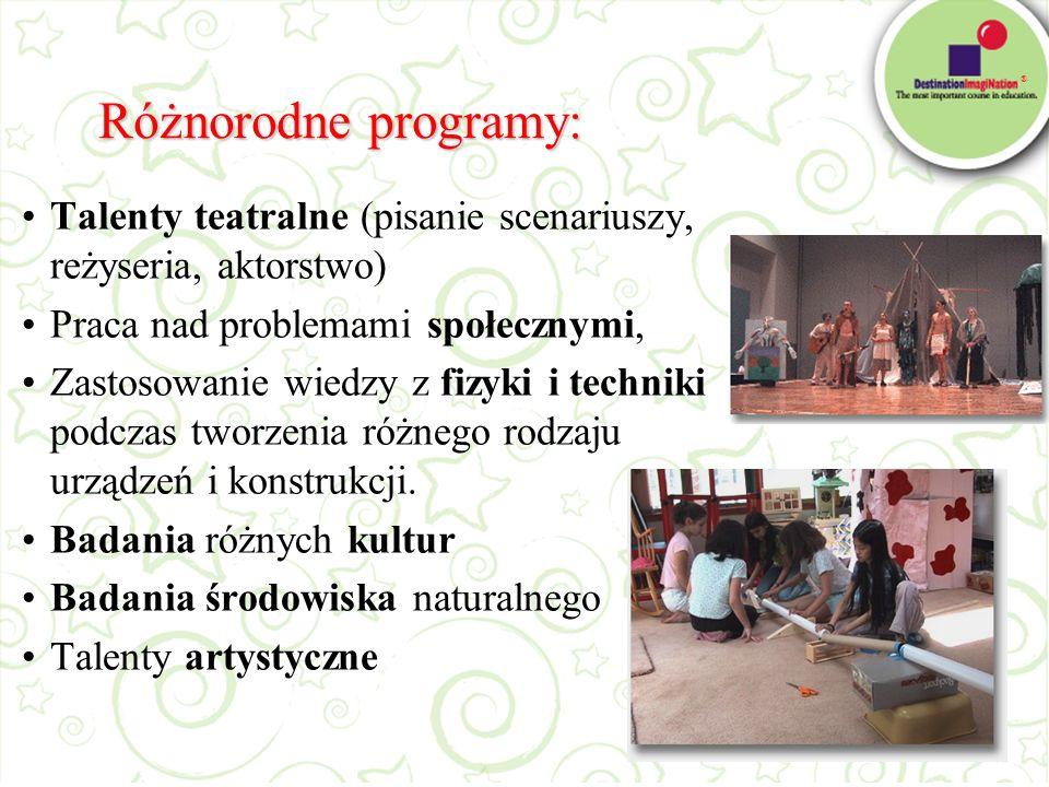 Różnorodne programy: Talenty teatralne (pisanie scenariuszy, reżyseria, aktorstwo) Praca nad problemami społecznymi,
