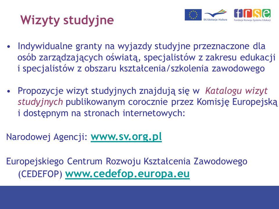 Wizyty studyjne Indywidualne granty na wyjazdy studyjne przeznaczone dla. osób zarządzających oświatą, specjalistów z zakresu edukacji.