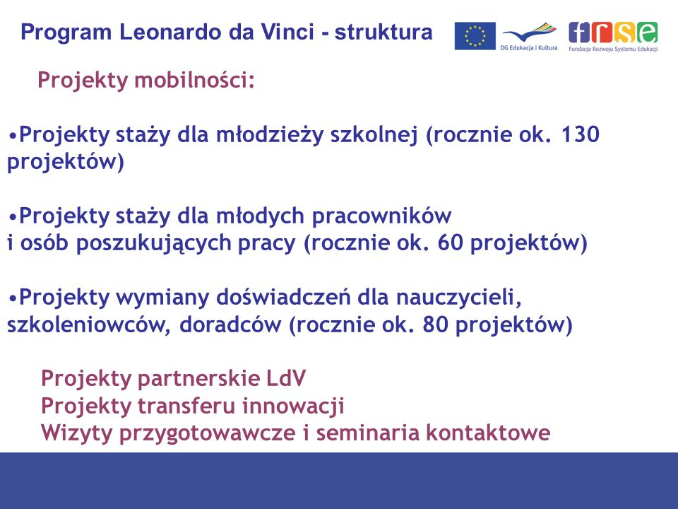 Program Leonardo da Vinci - struktura