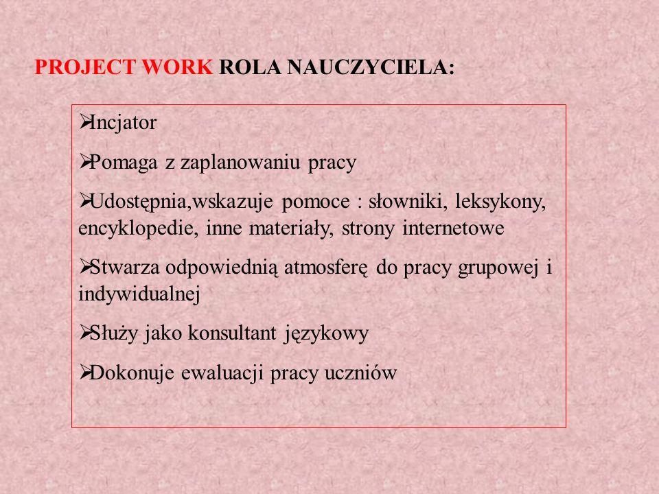 PROJECT WORK ROLA NAUCZYCIELA: