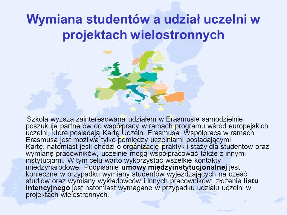 Wymiana studentów a udział uczelni w projektach wielostronnych