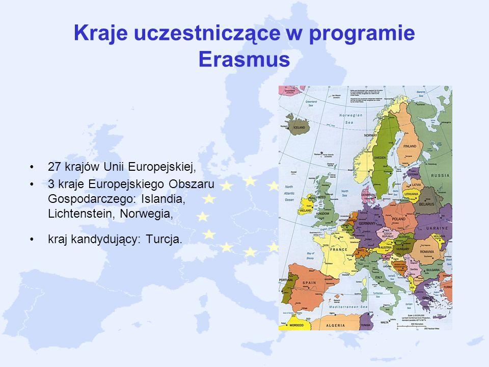 Kraje uczestniczące w programie Erasmus