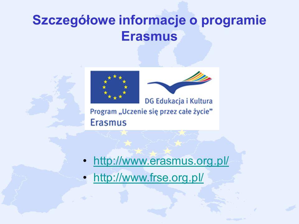 Szczegółowe informacje o programie Erasmus