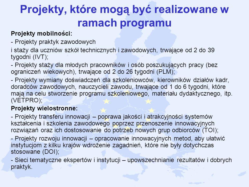 Projekty, które mogą być realizowane w ramach programu