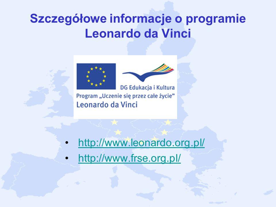 Szczegółowe informacje o programie Leonardo da Vinci
